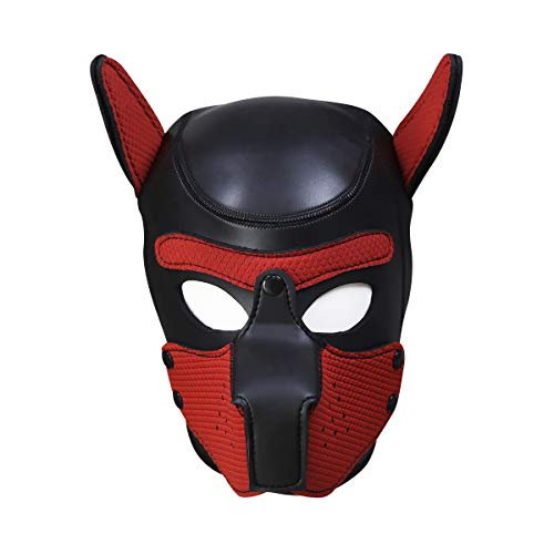 Lsinyan Red Halloween Christmas Easter·Neoprene Puppy Full Face Dog Mask Novelty Costume for Cosplay Role Play ()