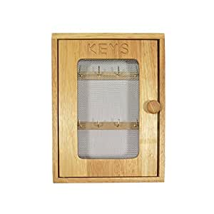 CARVED HEVEA WOODEN METAL MESH KEY CUPBOARD BOX 25 X 18 X 6.5CM