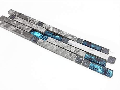3 x 12 Inches: Gray Marble Backsplash Tile, Teal Blue Glass Strip Interlocking Patterns - Bathroom, Kitchen, Shower, Accent Wall 9805 ()