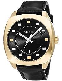 7e22d625938 Swiss Quartz Gold-Tone and Leather Dress Black Men s Watch(Model   YA142310). Gucci