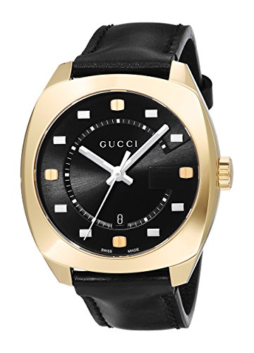 Gucci Men's Swiss Quartz Gold-Tone and Leather Dress Watch, Color:Black (Model: YA142310)