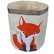 FANKANG Large Sized Toy Bin Stylish Fox Design Canvas & Linen Fabric Storage Basket Laundry Hamper with Waterproof Coating for Kid's Room(Fox)