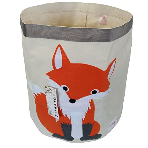 FANKANG Large Sized Toy Bin Stylish Fox Design Canvas & Linen Fabric Storage Basket Laundry Hamper with Waterproof Coating for Kid's Room(Fox) by FANKANG