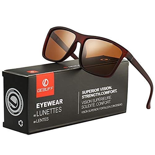 DeBuff Mens Square Polarized Sunglasses Stylish Driving Sun Glasses - TAC, UV400 -