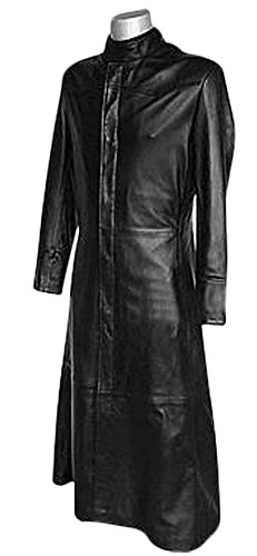 Matrix Movie Men's Black Neo Celebrity Costume Leather Trench Coat Jacket (2XL, Matrix-Black) (Movie Matrix Clothing)
