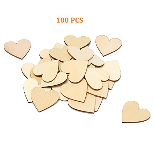 RERIVER 2-Inch Unfinished Wooden Heart Blank Wood Cutout Heart Slices Discs DIY Crafts(100pcs) (Wooden Heart Cut Out)