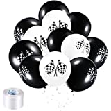 Chengu 50 Pieces Race Car Balloons Checkered Flag Latex Balloons with 8 Rolls Plastic Ribbons for Racing Theme Party…