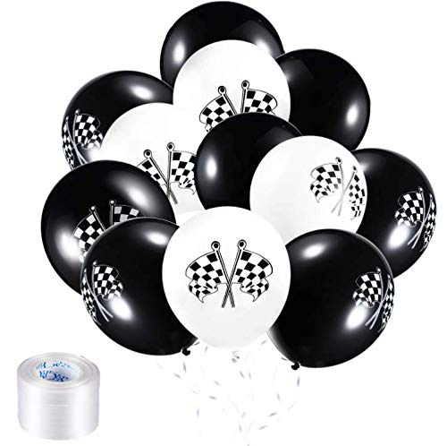 Chengu 50 Pieces Checkered Racing Car Balloons Flag Latex Balloons with 8 Rolls Plastic Ribbons for Racing Theme Party Decorations]()
