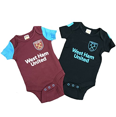 West Ham United FC Official Soccer Gift 2Pk Kit Baby Bodysuits 12-18 Months Baby Knits Kit