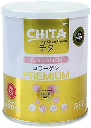 Chita Collagen 180,000 mg. 100% Collagen Pure Whitening Skin Smooth Anti-aging,Whitening Skin healthy hair,Extracted from deep sea fish Imported from Japan, Size: 125 G.