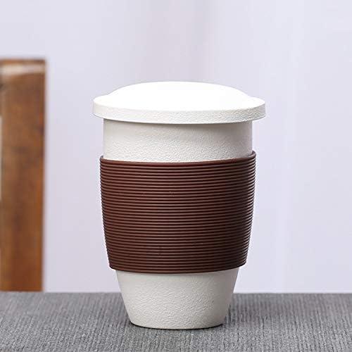 中国茶カップ ファインポータブルトラベルカンフー茶器オフィスセラミックスティーカップ(ブラック) (Color : White)