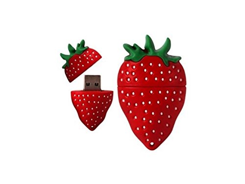 Yuchoi Perfectly Shaped 4GB Novelty Cute Strawberry USB 2.0 Flash Drive Data Memory Stick Device (As Shown) -