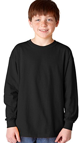 Gildan Heavy Cotton Youth Long-Sleeve T-Shirt, Blk, X-Large