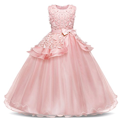Bestfive Kids Girls Tulle Lace Dress Princess Pageant Prom Ball Gown Dresses Pink Size 8