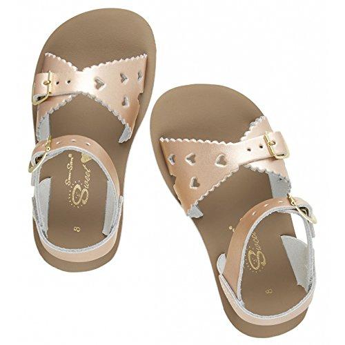Salt Water Sandals by Hoy Shoe Girls' Sun-San Sweetheart - K Flat Sandal Rose Gold 3 M US Little Kid