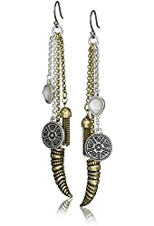 Lucky Brand Two Tone Horn Major Drop Earrings