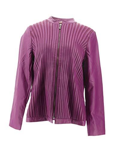 Belle Kim Gravel Faux Leather & Stretch Ponte Jacket Bright Plum M New A283922