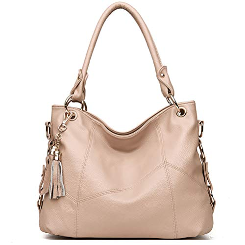 Women's Tote Shoulder Bag Handbag Purses Satchel Shoulder Bags Handle Bag Leather tassel (Beige) -