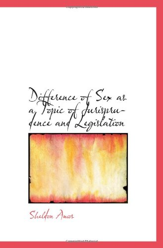 Difference of Sex as a Topic of Jurisprudence and Legislation pdf epub