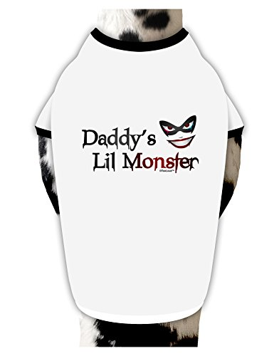 TooLoud Daddys Lil Monster Dog Shirt White with Black (Batman Mask For Dog)