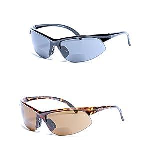 Mass Vision 2 Pair of Unisex Bifocal Sport Wrap Sunglasses - Outdoor Reading Sunglasses (Black/Tortoise, 1.25)