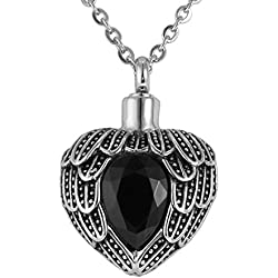 Valyria Memorial Jewelry Angel Wing Birthstone Necklace Urn Keepsake Cremation Ashes Pendant,Black