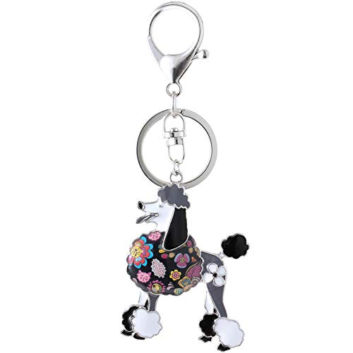 Marte&Joven Poodle Keychain for Women Dog Lover Unique Art Black Enamel Dog Jewelry Gift