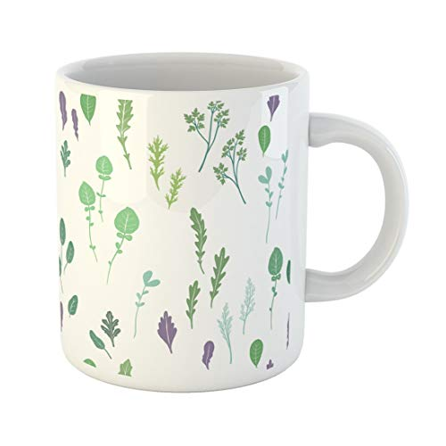 Tarolo 11 Oz Mug Coffee Mug Ceramic Tea Cup Fruit Salad Greens and Leaves in Unique Organic Packaging Cooking Book Bok Choy Large C-handle Family and Office Gift