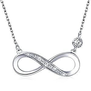 "925 Sterling Silver Necklace – Billie Bijoux ""Forever Love"" Infinity Heart Love Pendant White Gold Plated Diamond Women…"