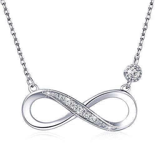 925 Sterling Silver Necklace – Billie Bijoux Infinity Heart Pendant White Gold Plated Diamond Women Adjustable Necklace