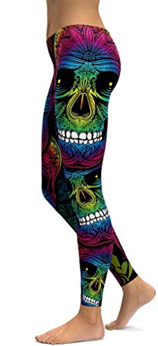 Jescakoo High Waisted Leggings for Women Skull Print Halloween Costumes Colorful]()