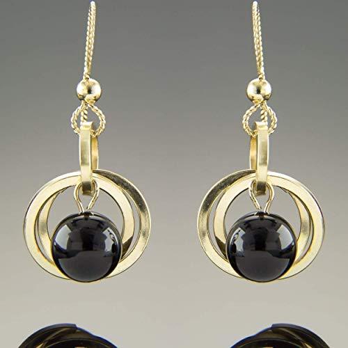 Dainty 14K Yellow Gold Fill Black Onyx Gemstone Open Circle Dangle Earrings