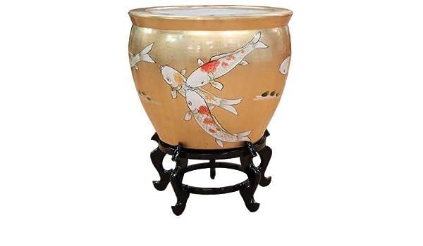 Hoja de oro carpa Koi diseño Oriental pecera y soporte pintado a mano: Amazon.es: Hogar