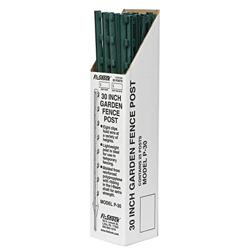 4' Fence Post - Fi-Shock P-30G Green Garden Post for Fence (25 Pack), 30