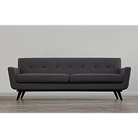 TOV Furniture The James Collection Mid Century Modern Style Linen Upholstered Living Room Sofa Grey