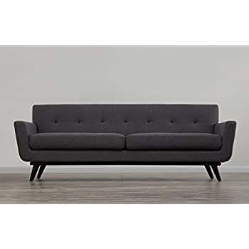 TOV Furniture The James Collection Mid Century Modern Style Linen  Upholstered Living Room Sofa,