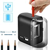 JARLINK Electric Pencil Sharpener, Auto-Stop and Heavy-Duty Helical Blade to Fast Sharpen for No.2/Colored Pencils, USB/Battery Operated in School Classroom/Office(USB/AC Adapter Included)