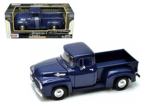 New 1:24 W/B AMERICAN CLASSICS COLLECTION - BLUE 1956 Ford F-100 Pickup Truck Diecast Model Car By MOTOR MAX (1956 Ford Truck)