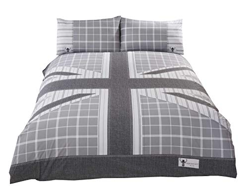 UNION JACK STRIPED CHECK GREY WHITE COTTON BLEND USA QUEEN SIZE (COMFORTER COVER 230 X 220 - UK KING SIZE) (PLAIN WHITE FITTED SHEET - 152 X 200CM + 25 - UK KING SIZE) PLAIN WHITE HOUSEWIFE PILLOWCASES 6 PIECE BEDDING SET
