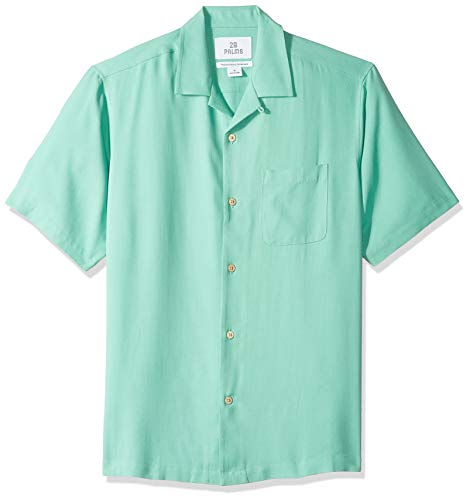 28 Palms Men's Relaxed-Fit 100% Silk Camp Shirt, Maui Green, Large