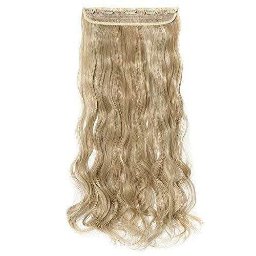 S-noilite 24/26 Straight Curly 3/4 Full Head One Piece 5clips Clip in Hair Extensions Long Poplar Style 22colors(26-straight,Ash Blonde & Bleach Blonde)