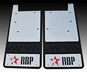 """RBP 757043-SS Red/Black Stainless Background 5/8"""" Offset 12"""" Rear Mud Flap with RBP Die Stamp for Toyota Tundra"""