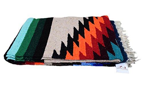 (Open Road Goods Mexican Yoga Blanket, Navajo Aztec Diamond XL Thick Serape with Stripes-Tan)