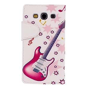 ZXM-Patrón Music Rojo Dibujo Guitarra cuero de la PU de la piel de plástico duro volver para cubrir bolsas para Samsung Galaxy S3 I9300