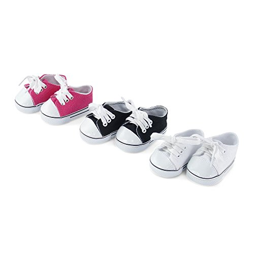 18 Inch Doll Clothes| Versatile Canvas Doll Sneakers Basics Value 3-pack, Including Bright Pink, White and Black Tennis Shoes |Fits American Girl Dolls (Rose Shoes Doll)