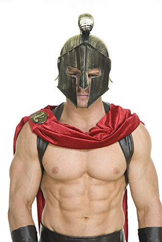 Charades Men's Spartan Legions Helmet, Gold One Size -
