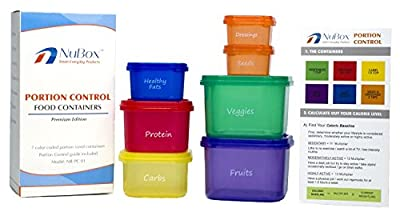 Premium Portion Control Containers (2 Sets of 7pcs each) - Weight Loss System Comparable to 21 Day Fix® - Color Coded, Conveniently Labeled, BPA & DEHP FREE - Complete Meal Prep Kit with a Food Guide