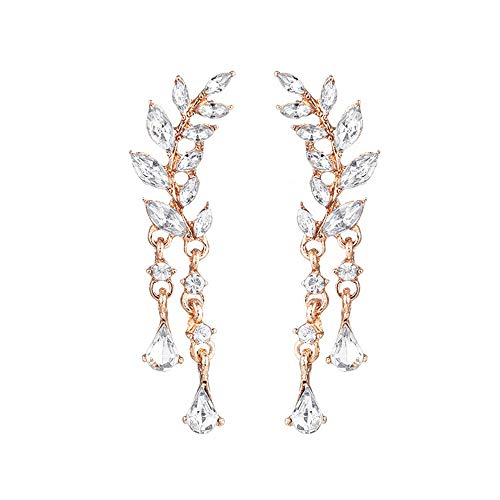 (CZ Crystal Leaf Ear Cuffs Climber Earrings Sweep up Wrap Earring for Womens Vine Jewelry-GO)
