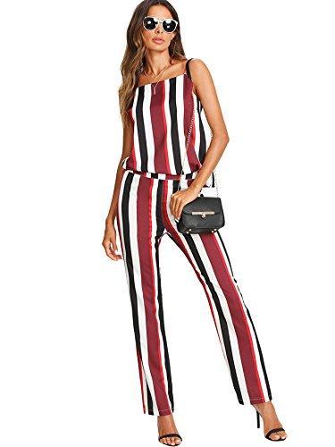 f08a8d5d371 Romwe Women s Slim Fit Two Piece Striped Colorblock Cami Top and Zip Up  Long Pants Suit