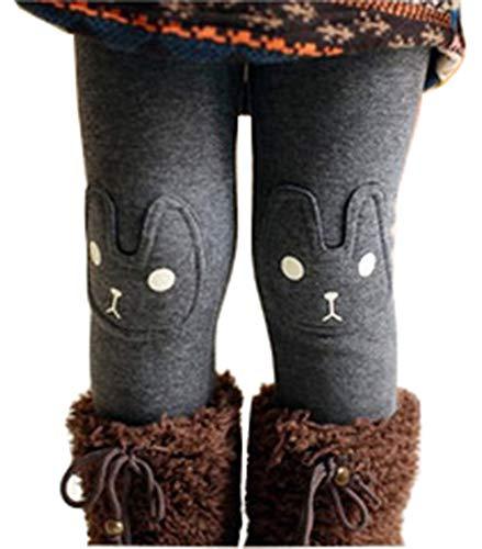 Kids Girls Winter Leggings Bunny Printed Thick Warm Fleece Pants for 2-7 Years Ash Black,130/5-6 -